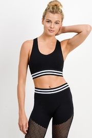 Mono B Seamless Striped Rib Cutout Racerback Sports Bra - Product Mini Image