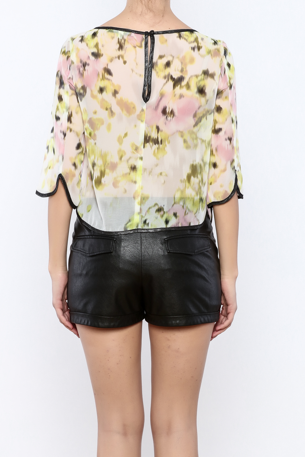 Search for Sanity Floral Sheer Top - Back Cropped Image