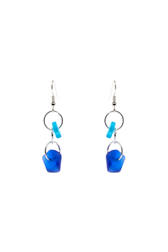 Searenity Aqua Blue Sea Glass Earrings - Alternate List Image