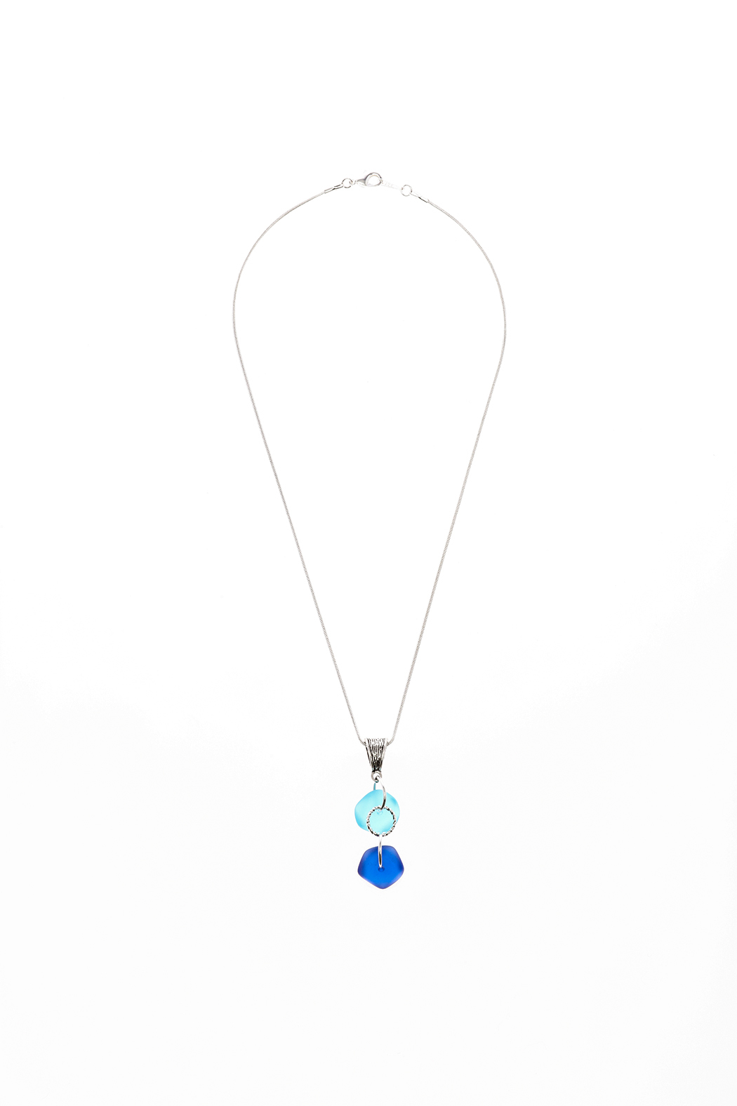 Searenity Aqua Blue Sea Glass Necklace - Front Cropped Image