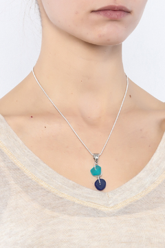Searenity Aqua Blue Sea Glass Necklace - Alternate List Image