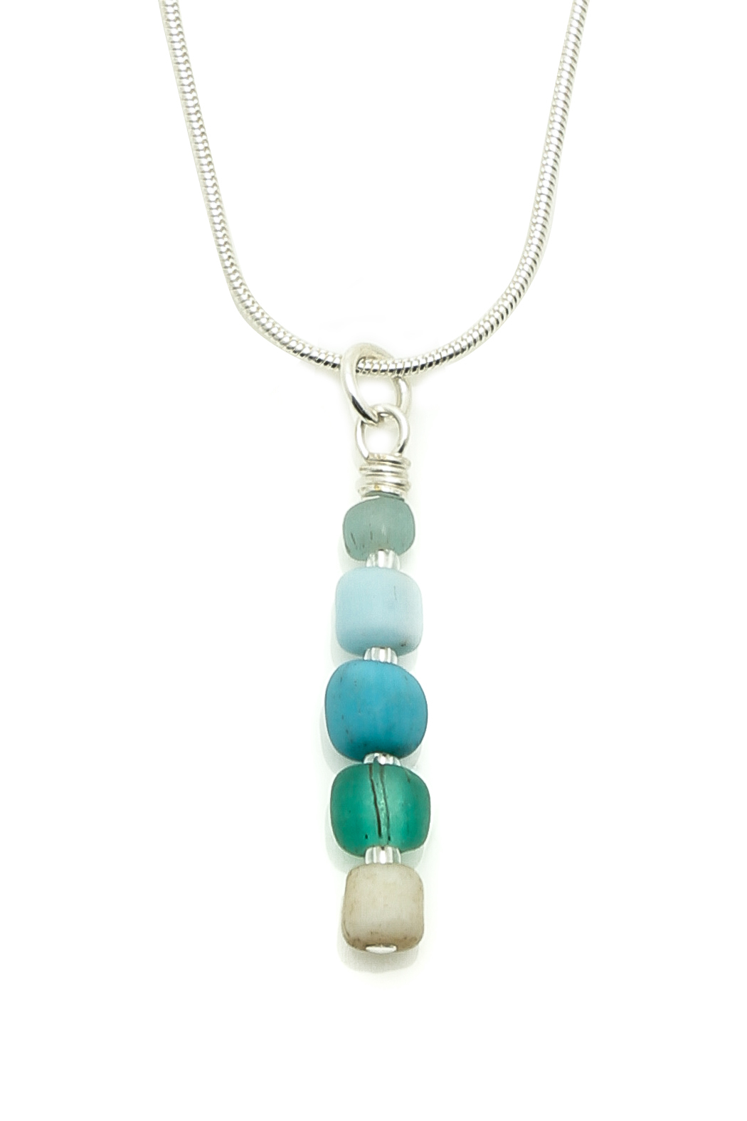 Searenity Pebble And Glass Necklace - Front Full Image