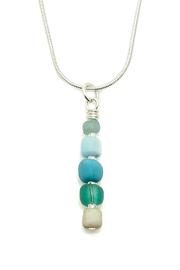 Searenity Pebble And Glass Necklace - Front full body