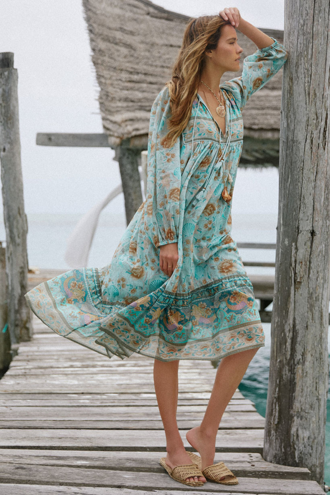 Spell & the Gypsy Collective Seashell Boho Dress in Seafoam - Main Image