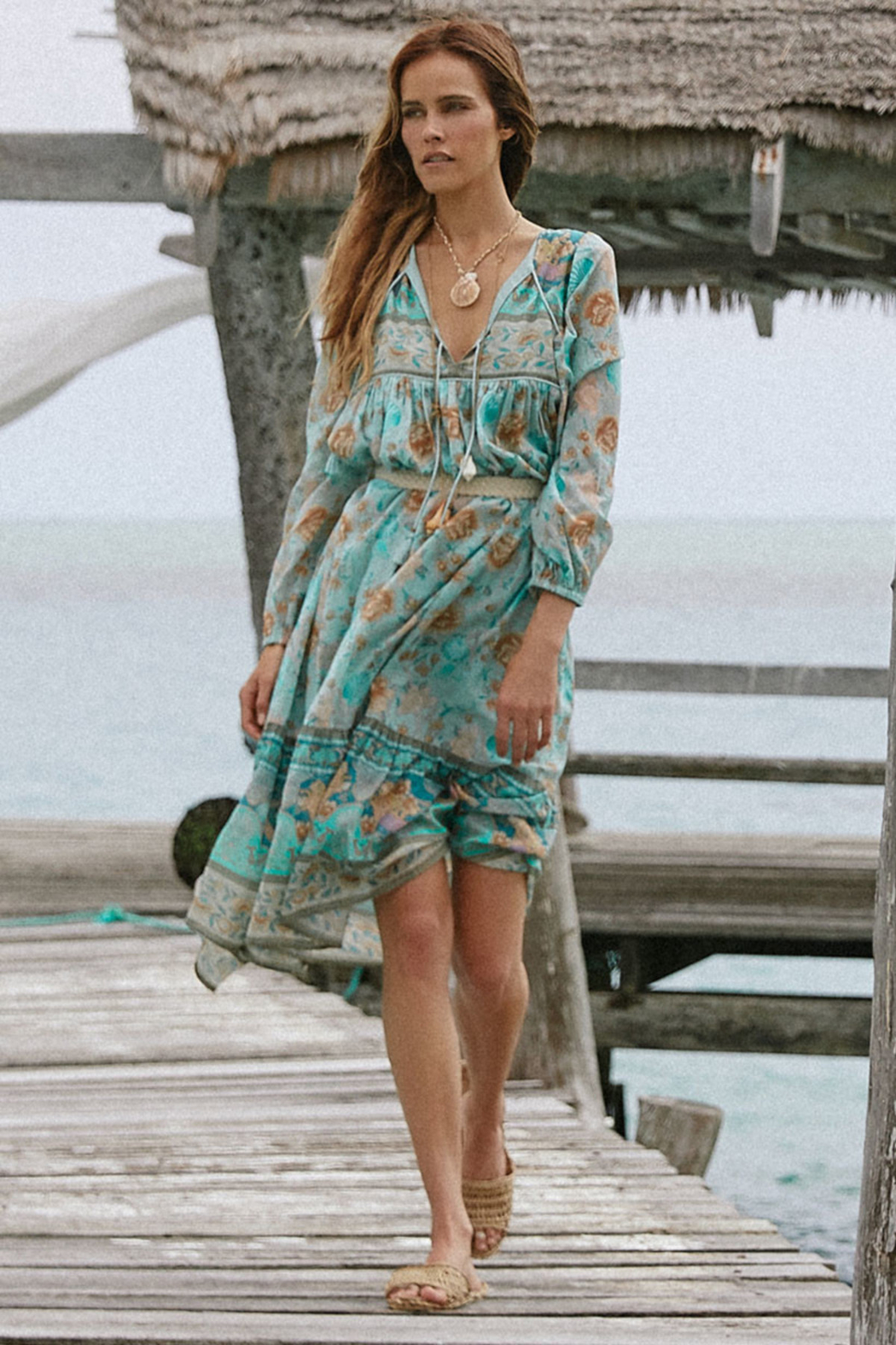 Spell & the Gypsy Collective Seashell Boho Dress in Seafoam - Side Cropped Image