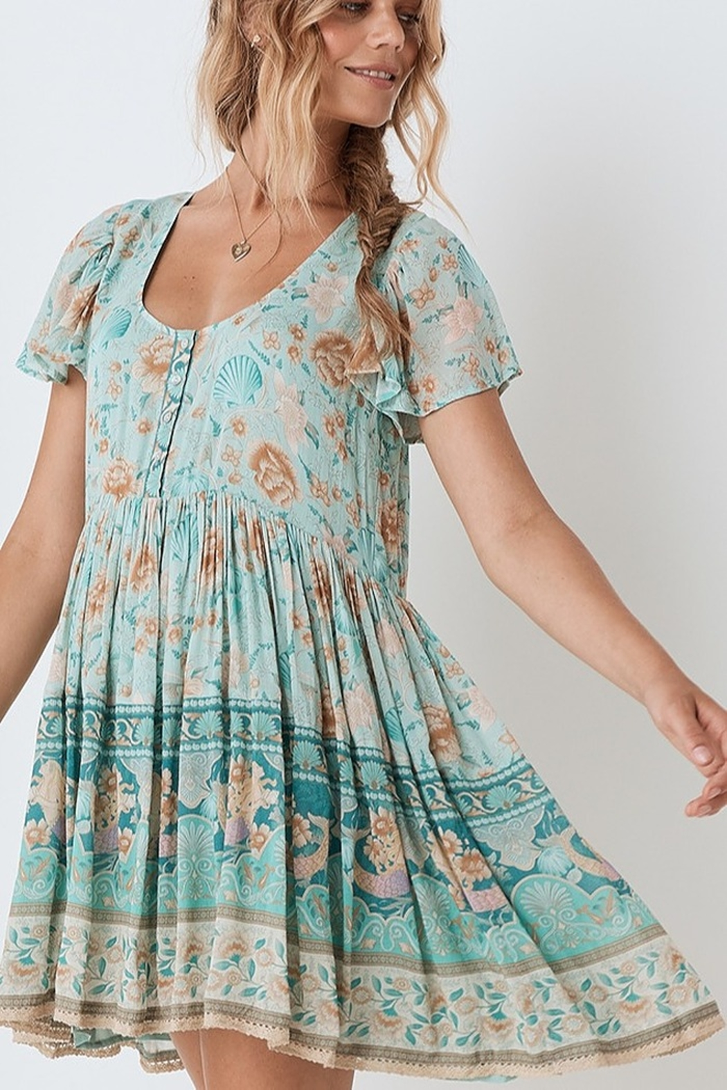Spell & the Gypsy Collective Seashell Mini Dress - Seafoam - Front Full Image