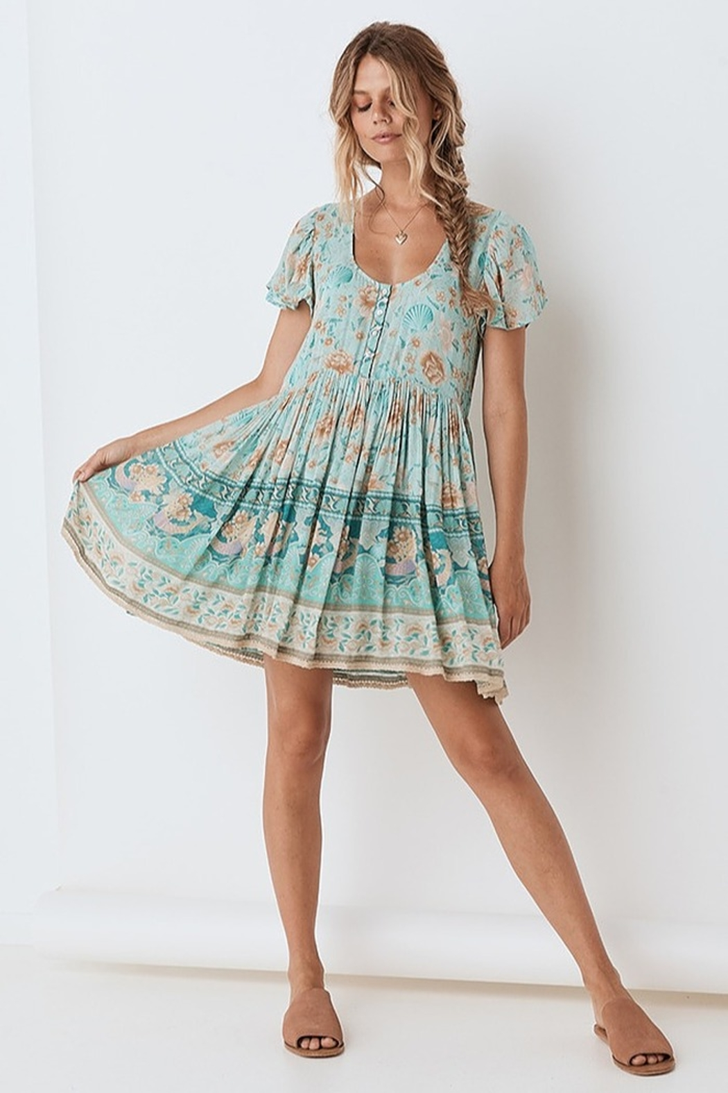 Spell & the Gypsy Collective Seashell Mini Dress - Seafoam - Side Cropped Image
