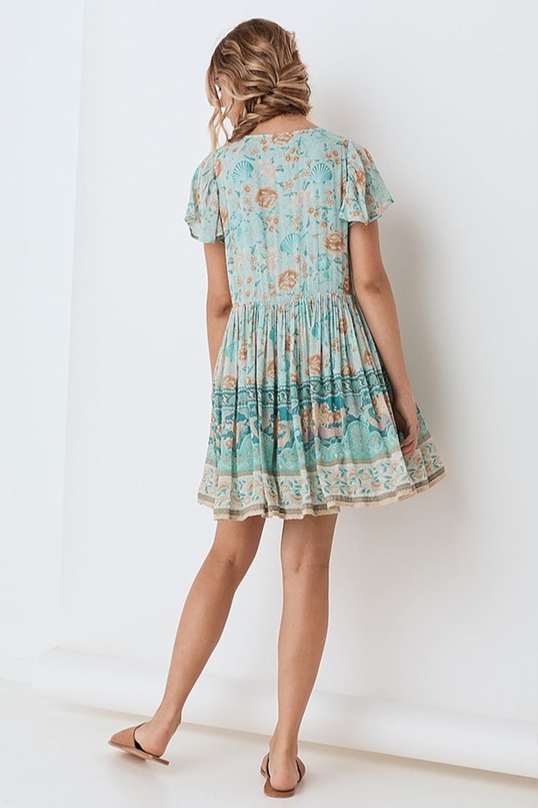 Spell & the Gypsy Collective Seashell Mini Dress - Seafoam - Back Cropped Image