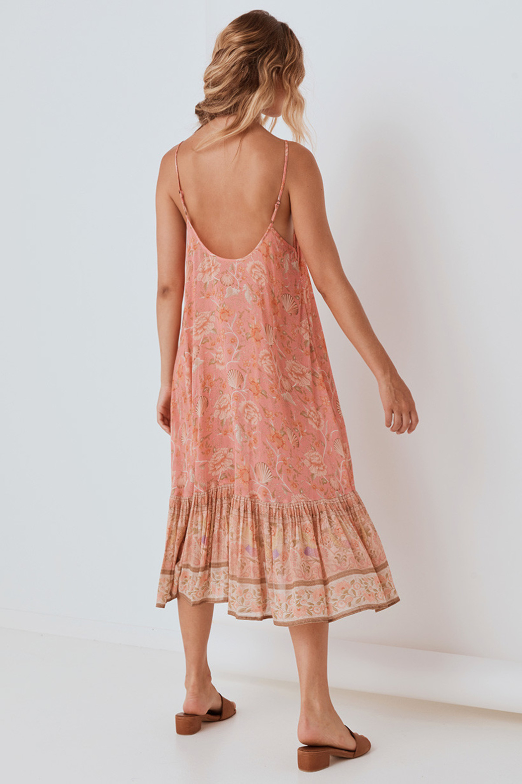Spell & the Gypsy Collective Seashell Strappy Midi Dress in Coral - Side Cropped Image