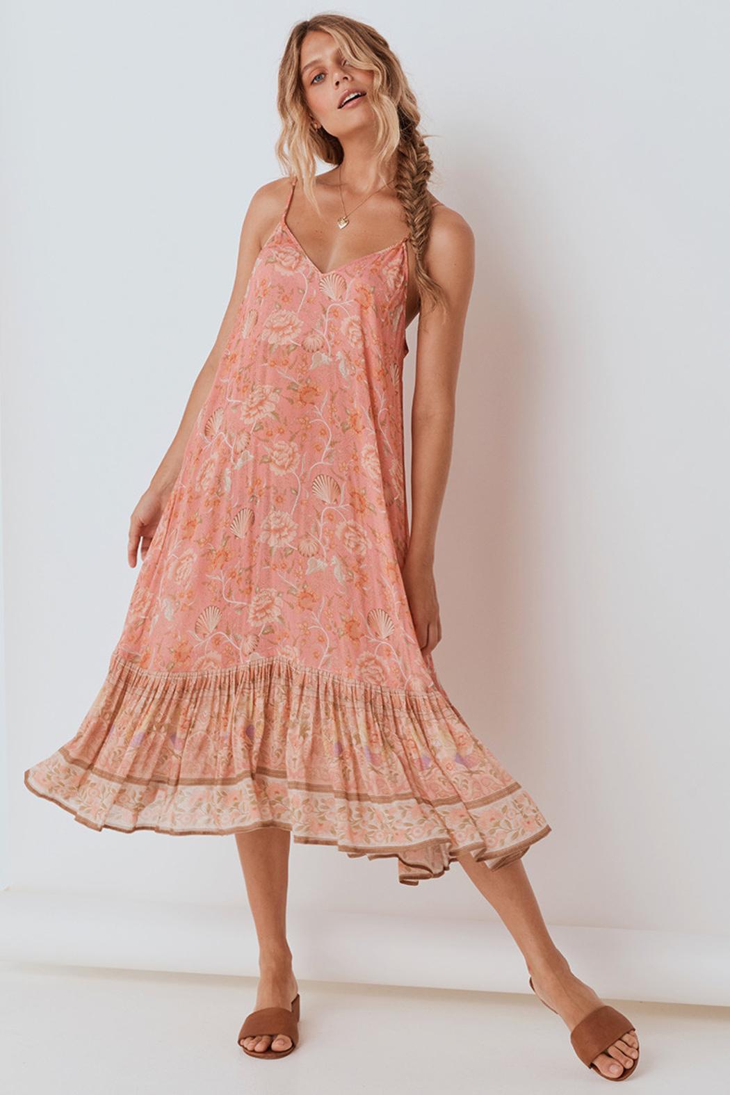 Spell & the Gypsy Collective Seashell Strappy Midi Dress in Coral - Main Image