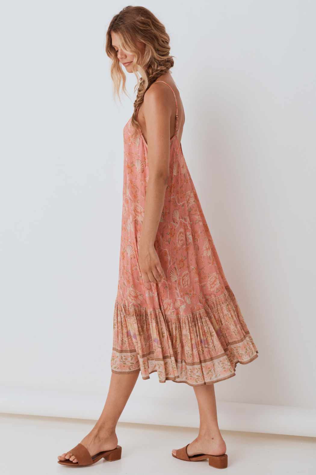 Spell & the Gypsy Collective Seashell Strappy Midi Dress in Coral - Front Full Image