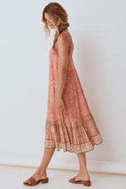 Spell & the Gypsy Collective Seashell Strappy Midi Dress in Coral - Front full body