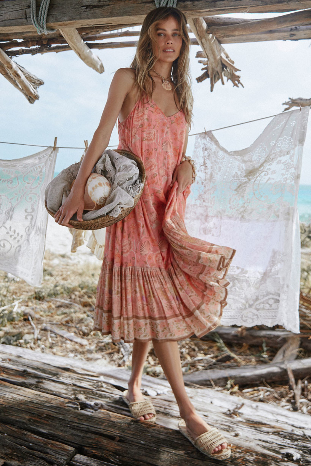 Spell & the Gypsy Collective Seashell Strappy Midi Dress in Coral - Back Cropped Image