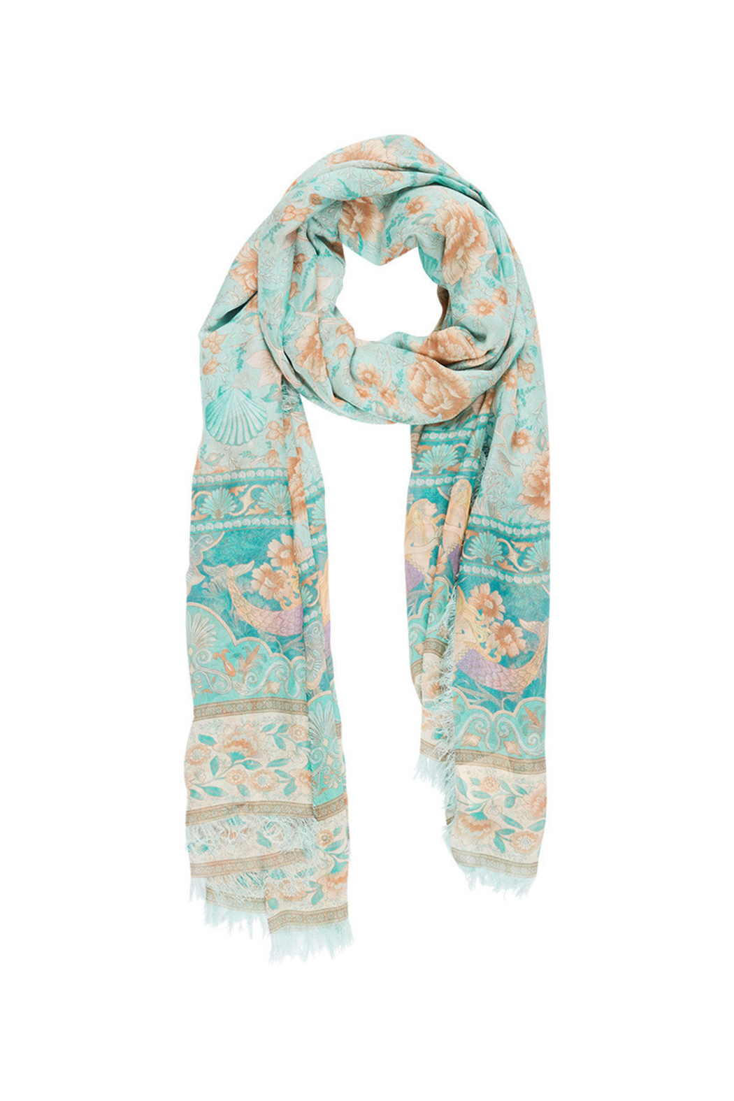 Spell & the Gypsy Collective Seashell Travel Scarf in Seafoam - Front Full Image