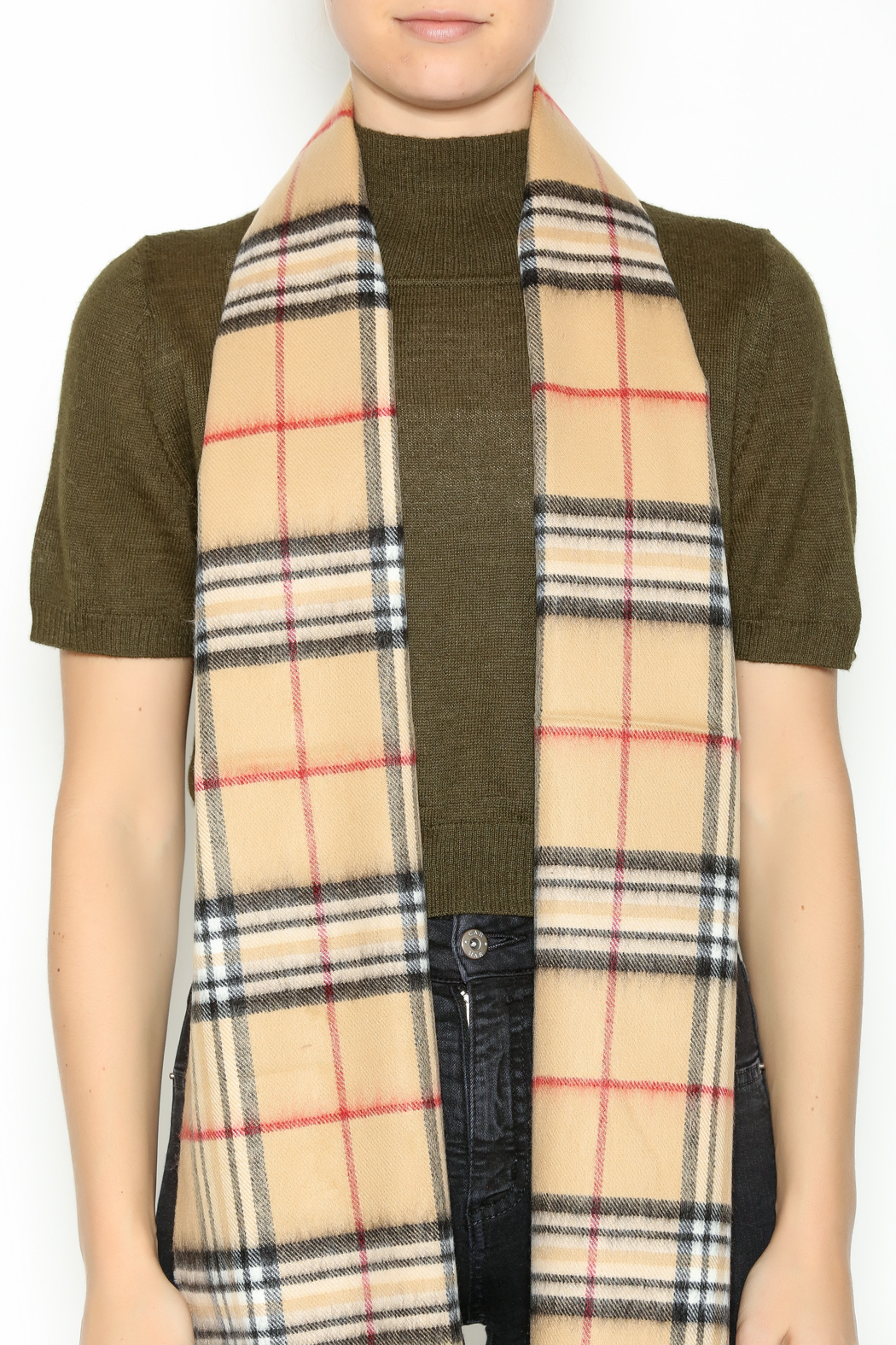 Seattle Silver Beige Plaid Cashmere Scarf - Back Cropped Image