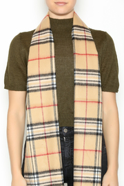 Seattle Silver Beige Plaid Cashmere Scarf - Back cropped