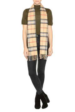 Seattle Silver Beige Plaid Cashmere Scarf - Product List Image