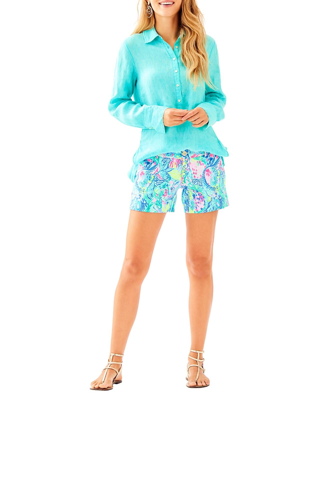 Lilly Pulitzer Seaview Button-Down Top - Side Cropped Image