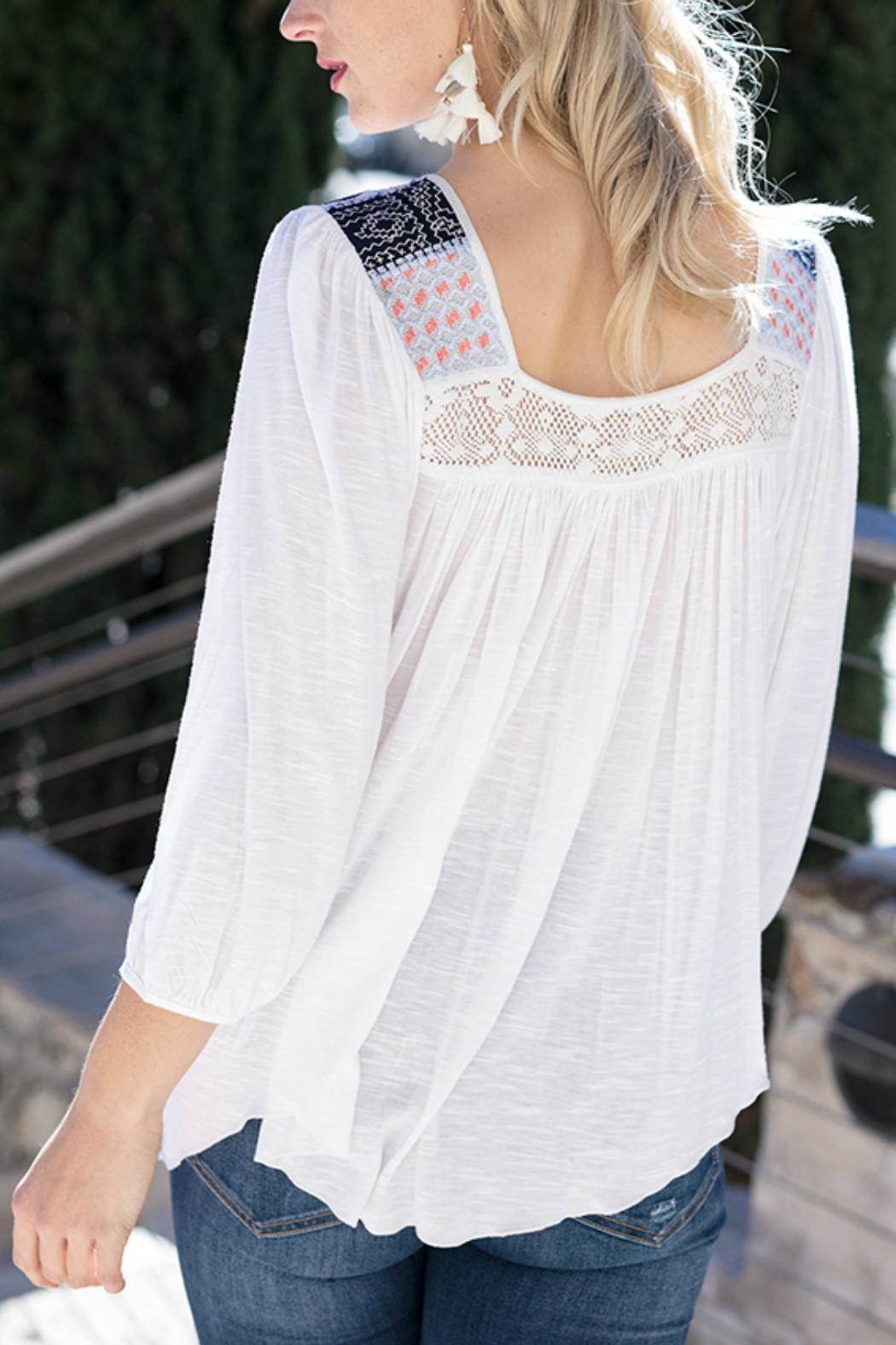 Grace & Lace Sedona Embroidered Top - Front Full Image
