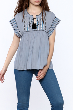 See U Soon Embroidered Chambray Top - Product List Image