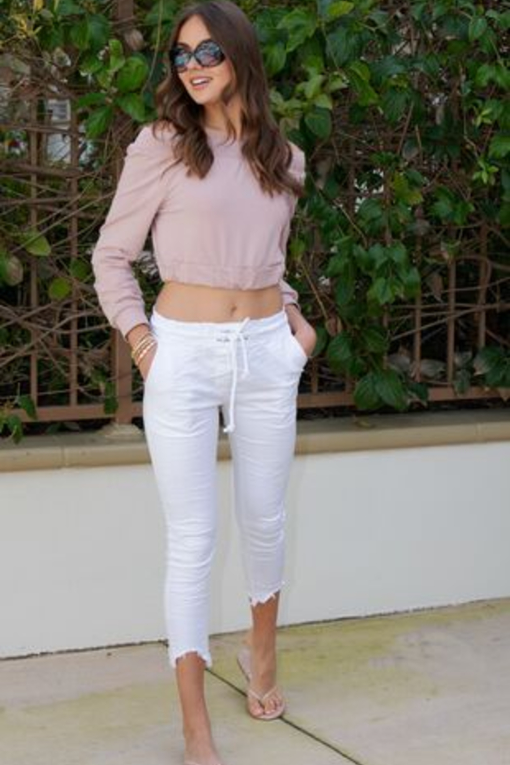 Venti 6 'See You' Crinkle Pants - Side Cropped Image