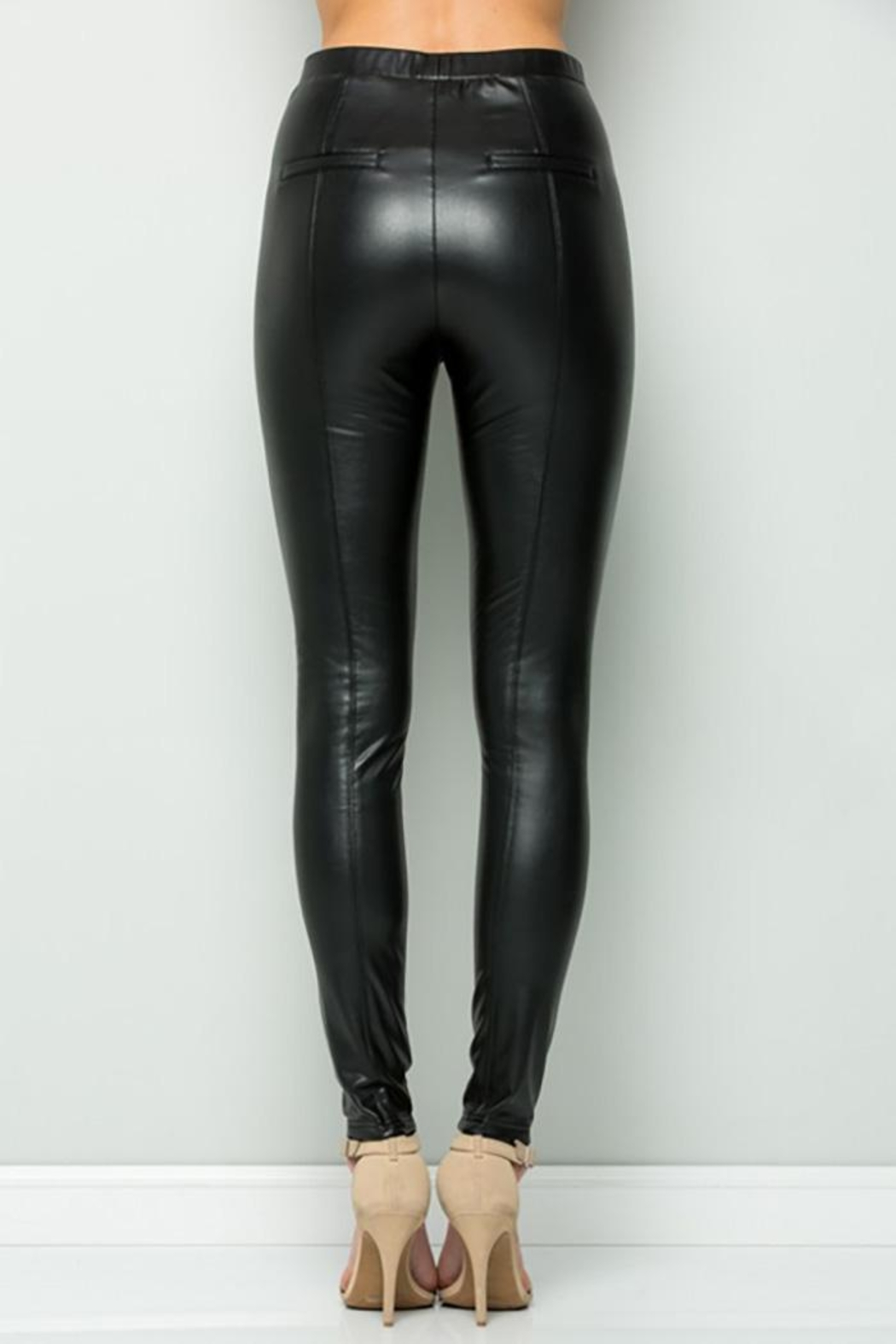 See and Be Seen Faux Leather Super Stretch Pants - Side Cropped Image