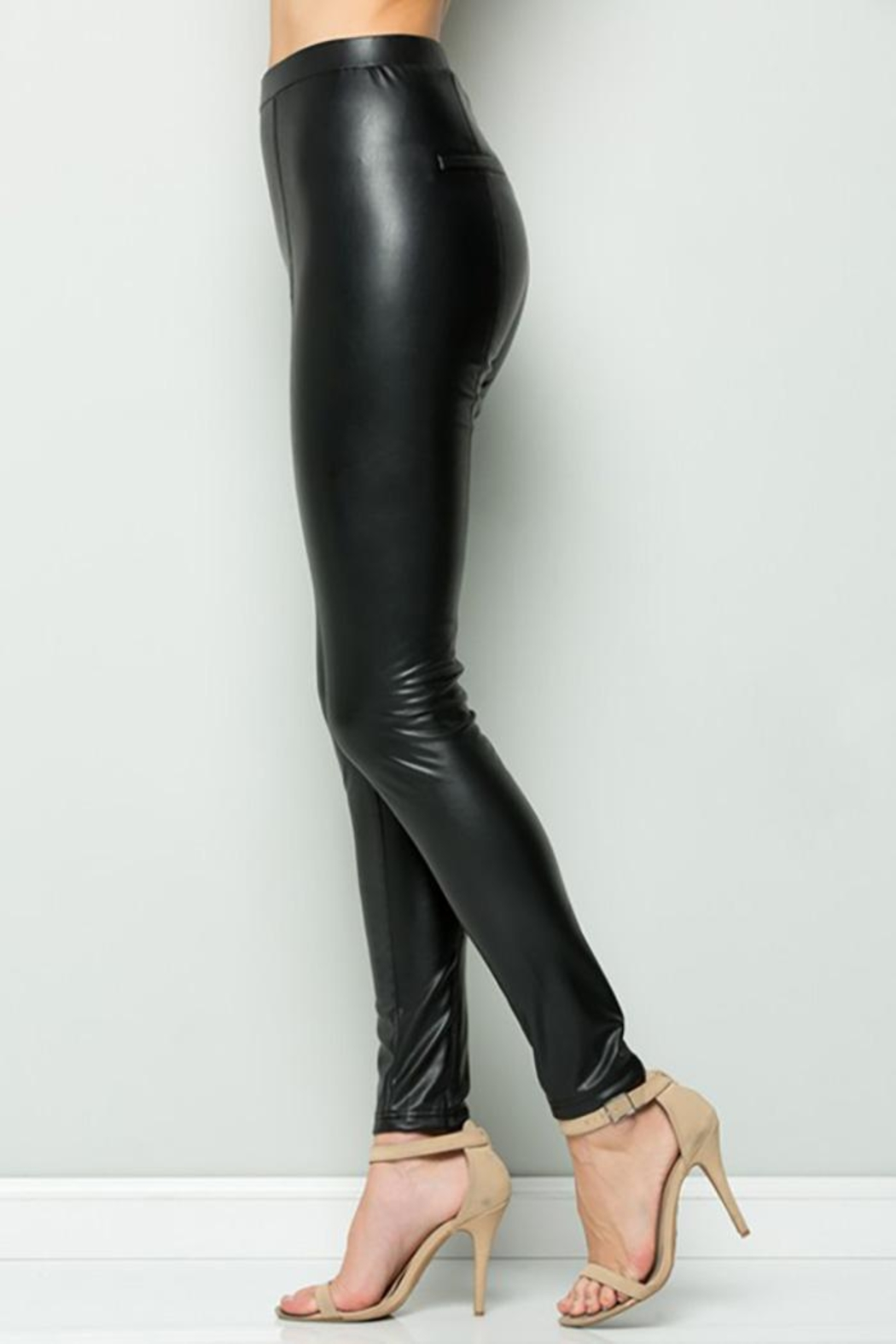 See and Be Seen Faux Leather Super Stretch Pants - Back Cropped Image