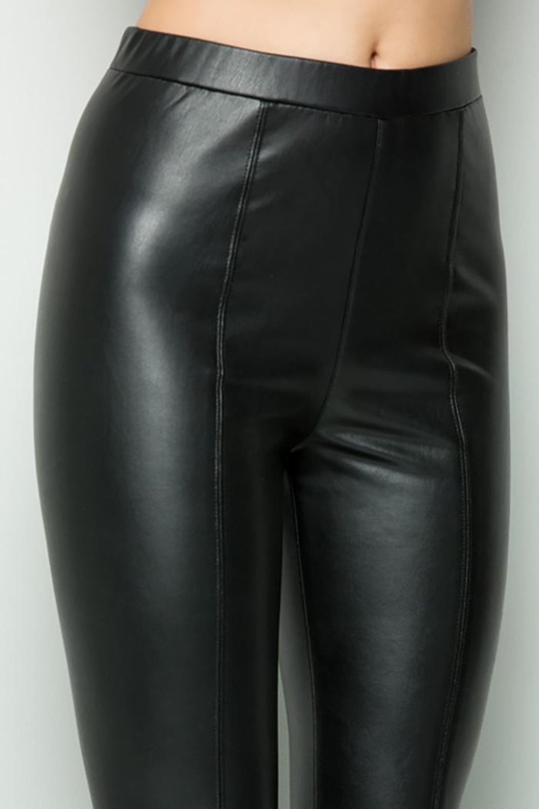 See and Be Seen Faux Leather Super Stretch Pants - Front Full Image