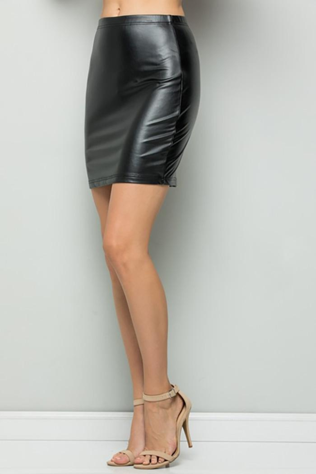 See and Be Seen Faux Leather Super Stretch Skirts - Back Cropped Image
