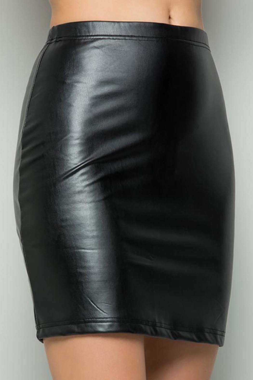 See and Be Seen Faux Leather Super Stretch Skirts - Side Cropped Image