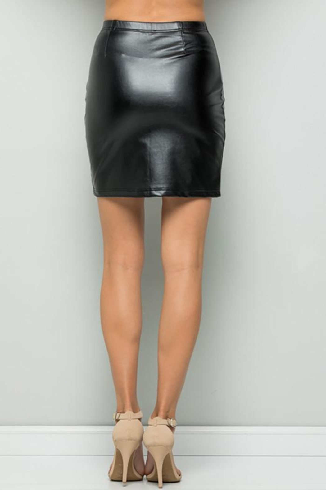 See and Be Seen Faux Leather Super Stretch Skirts - Front Full Image