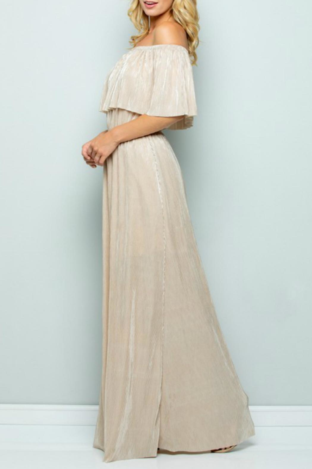 See and Be Seen Metallic Maxi Dress - Side Cropped Image