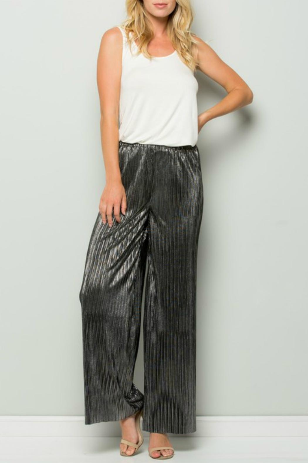 See and Be Seen Metallic Wide Pant - Side Cropped Image