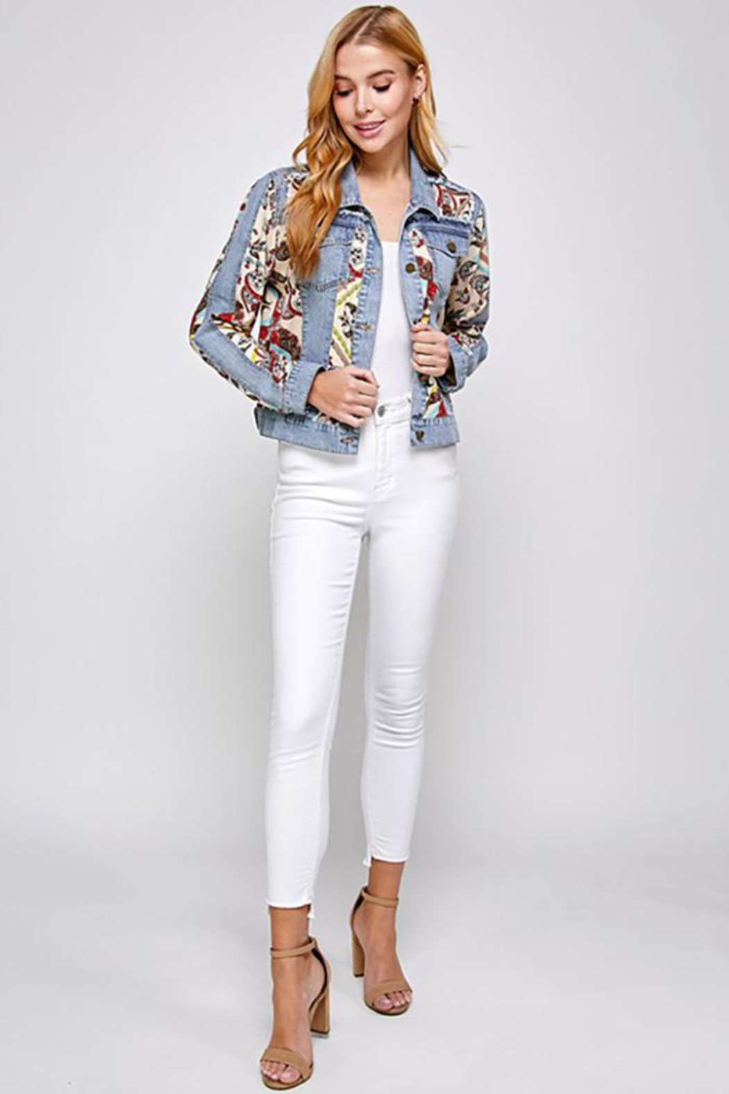 See and Be Seen Paisley Patch Print Denim Jacket - Side Cropped Image