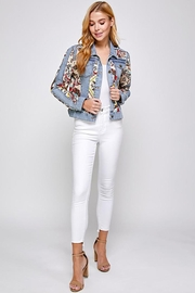 See and Be Seen Paisley Patch Print Denim Jacket - Side cropped