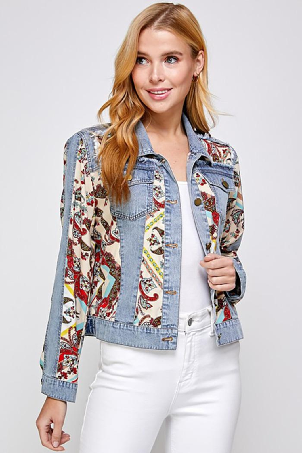 See and Be Seen Paisley Patch Print Denim Jacket - Main Image