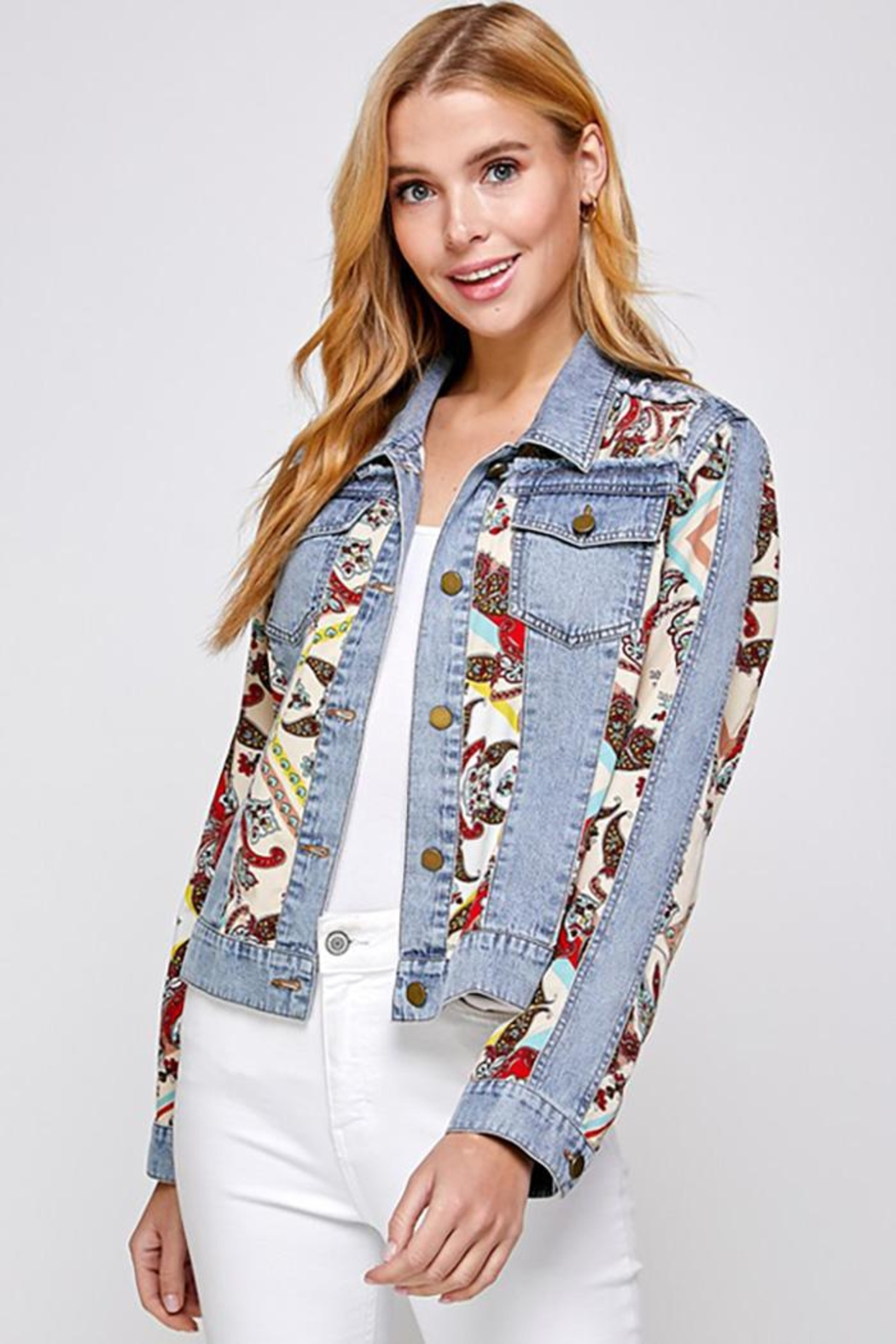 See and Be Seen Paisley Patch Print Denim Jacket - Front Full Image