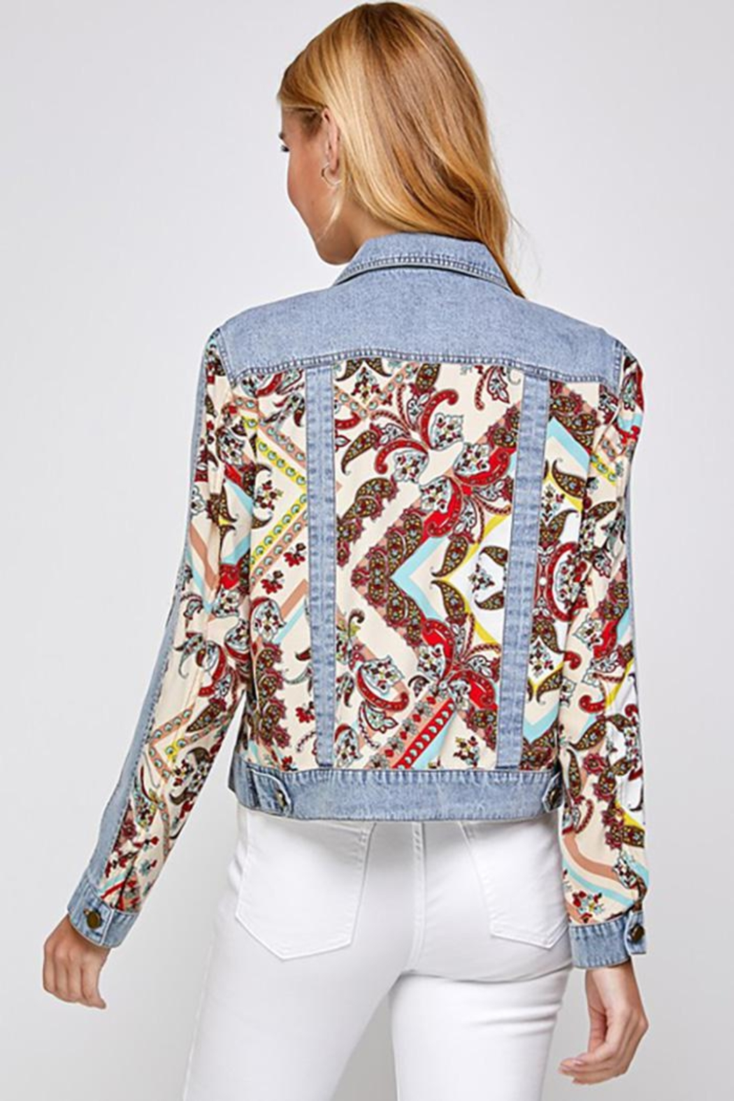 See and Be Seen Paisley Patch Print Denim Jacket - Back Cropped Image