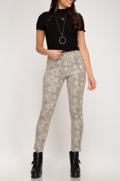 See and Be Seen Stretch Snakeskin Leggings - Product List Image