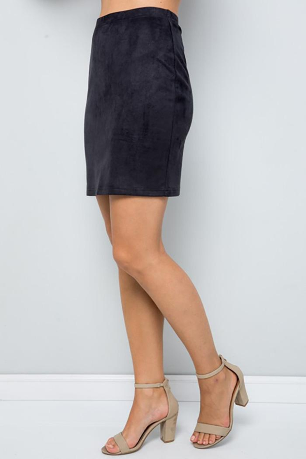 See and Be Seen Super Stretch Faux Suede Skirt - Front Full Image