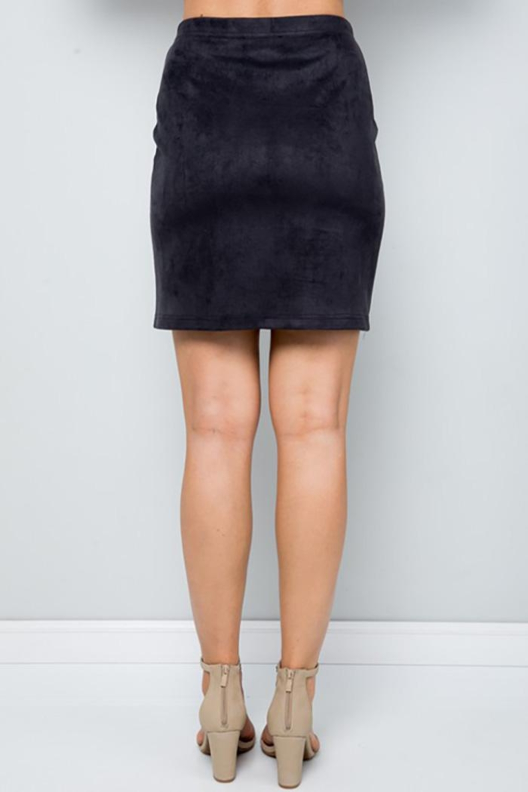 See and Be Seen Super Stretch Faux Suede Skirt - Back Cropped Image