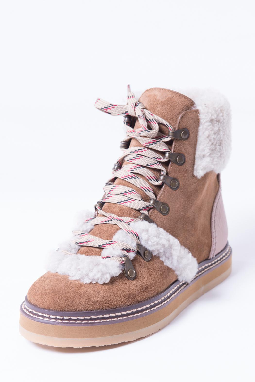 See by Chloé Brown Shearling Eileen Boots DvJx1Jf8Z