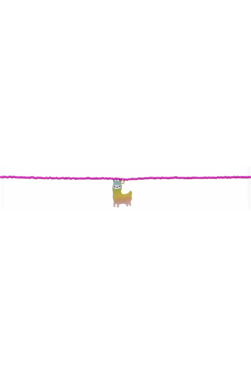 Jane Marie Seed Bead Necklace - Hot Pink With Llama Charm - Main Image