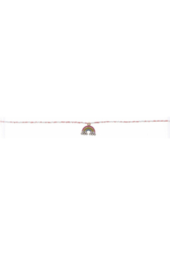 Jane Marie Seed Bead Necklace - Light Pink/White With Rainbow Charm - Alternate List Image