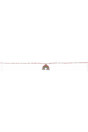 Jane Marie Seed Bead Necklace - Light Pink/White With Rainbow Charm - Product Mini Image