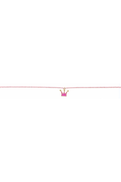Jane Marie Seed Bead Necklace - Light Pink With Crown Charm - Alternate List Image
