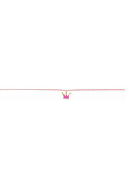 Jane Marie Seed Bead Necklace - Light Pink With Crown Charm - Product Mini Image