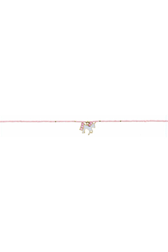 Jane Marie Seed Bead Necklace - Light Pink With Unicorn Charm - Alternate List Image