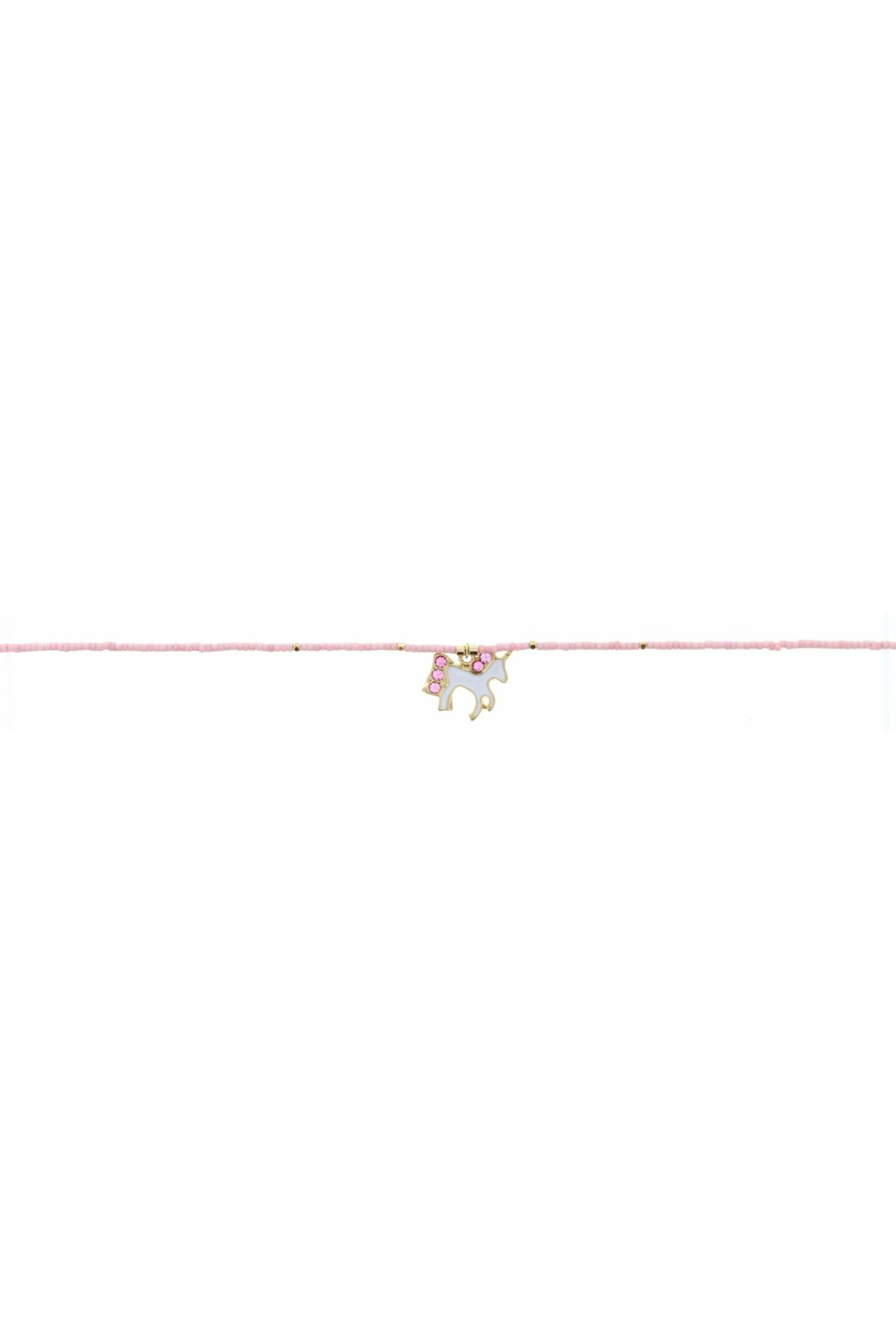 Jane Marie Seed Bead Necklace - Light Pink With Unicorn Charm - Main Image