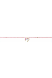 Jane Marie Seed Bead Necklace - Light Pink With Unicorn Charm - Front cropped